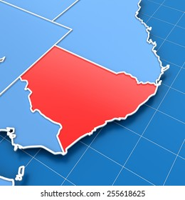 3d render of Australia map with New South Wales highlighted