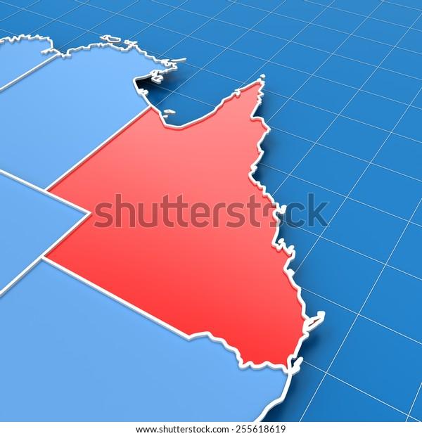 Map Of Australia Highlighting Queensland.3d Render Australia Map Queensland Highlighted Stock Illustration