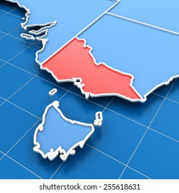 3d render of Australia map with Victoria state highlighted