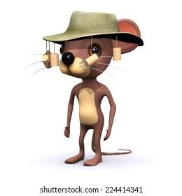 3d render of an Australian mouse in bush hat