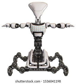 3d Render: Automaton containing elements: flat elongated skull head, light chest exoshielding, chest green blue lights array, insect walker legs. Material: White. Situation: T-pose.