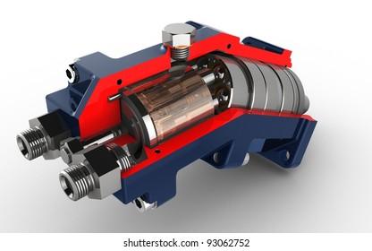 3D render Axial piston hydraulic pump