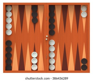 3D render of  backgammon game board isolated over white