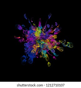 3d render background with abstract particles. Turbulences and curled particles. Complex simulation. Isolated and  multicolored.