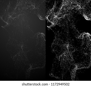 3d render background with complex particles simulation. Isolated flowing particles.