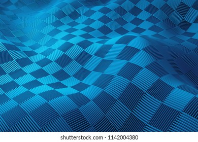 3d render background. Displacement surface. Random patterns extruded from the wavy shape.