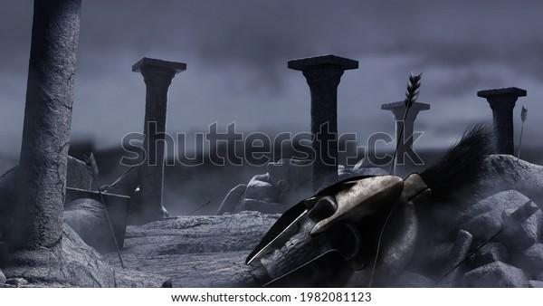 3d render background illustration of ancient greek temple ruins with male spartan warrior skull in helmet, rocks and columns on dark night war backdrop.