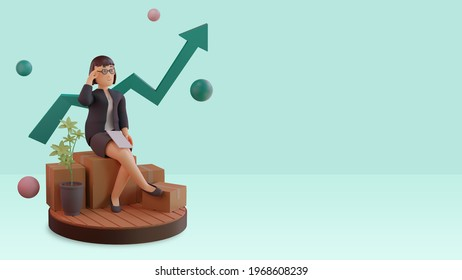 3d render background illustration business, character concept growing business with statistic graph, podium