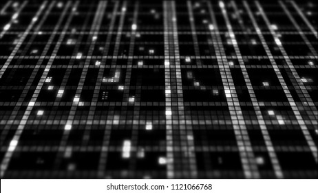 3d render background made of random square forms with different brightness.  Digital technology background with depth of field. Square particles.