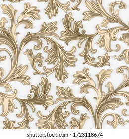 3D render  background. pattern voluminous golden branches with leaves, with shadow on a white background. Decorative grill with a floral ornament, 3D panel. Futuristic background