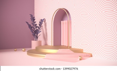 3d render background for product show or shop design. Geometric figures in modern minimal design. Horizontal banners with abstract shapes in pastel pink and purple colors with golden elements.