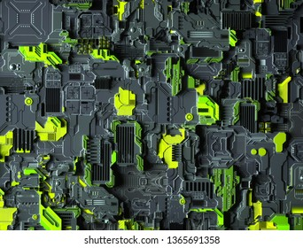 3d render background texture computer motherboard in grey metallic and green colors with many different chipsets transistors and micro processors looks like cyberpunk city