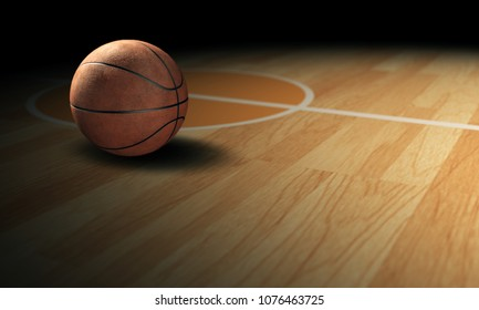 3d render Badketball put on basketball court with black background