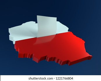3D render of ballot box in shape of Poland borderline with national white and red flag colors and voting card half-inserted into ballot box slot