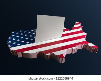 3D render of ballot box in shape of USA borderline with national flag and voting card half-inserted into ballot box slot