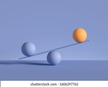 3d render, balls placed on scales, isolated on violet background. Primitive geometric shapes. Balance, comparison metaphor. Modern minimal design