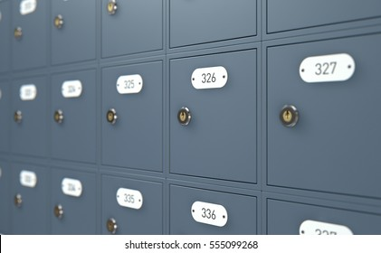A 3D render of a bank of private numbered post office mail boxes with a locking mechanism