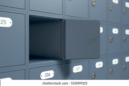 A 3D render of a bank of private numbered post office mail boxes with one open revealing nothing inside