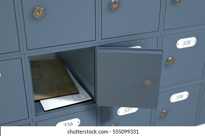 A 3D render of a bank of private numbered post office mail boxes with one open revealing letters inside