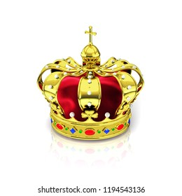 3d render based on the dutch royal crown isolated on a white background
