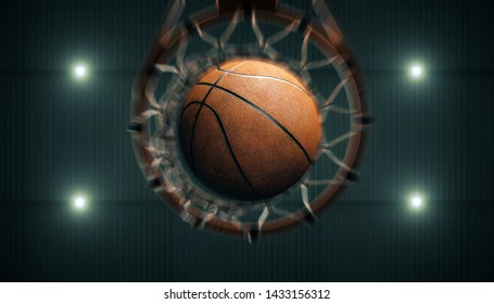 3D render basketball is passing through the hoop. and worm eyeview see The spotlight on the stadium roof