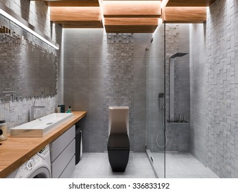 3D render of a bathroom in a gray stone and a mosaic.The ceiling is executed from the wooden blocks which are hanging down at different height with LED illumination.