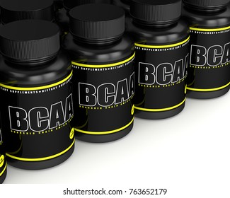 3d render of BCAA bottles with pills in row over white background