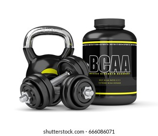 3d render of BCAA powder with dumbbells and kettlebell isolated over white background