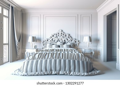 3d render of beautiful classic bedroom interior