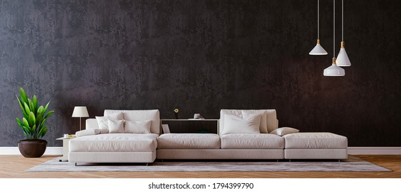 3d render of beautiful clean nterior with sofa
