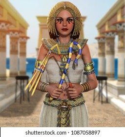 3d render of a beautiful Egyptian Princess, Queen, Pharaoh, Cleopatra, in a richly decorated temple, holding signs of power