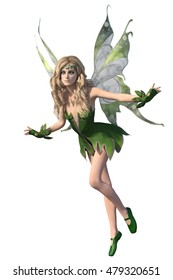 3d render of a beautiful Fairy in fancy bright green outfit isolated on white