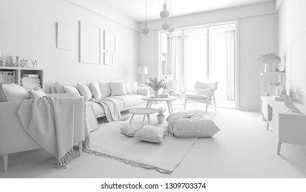 3d render of beautiful interior render setup