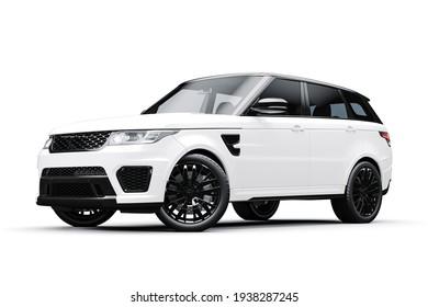 3D-Rendering von schönen luxuriösen SUV-Wagen