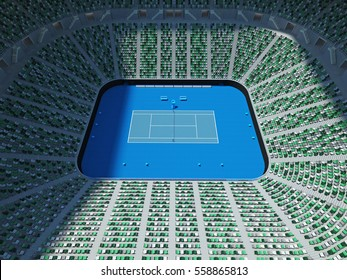 3D render of beautiful modern tennis grand slam lookalike stadium for fifteen thousand fans