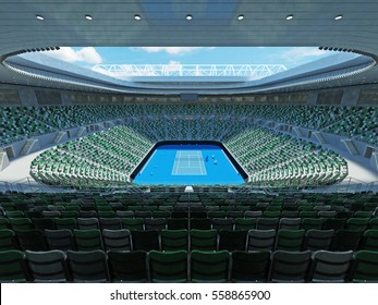 3D render of beautiful modern tennis grand slam lookalike stadium for fifteen thousand fans