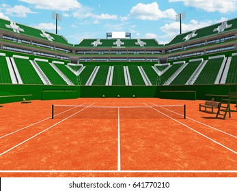 3d render of beautiful modern tennis clay court grand slam lookalike stadium with green seats for fifteen thousand fans