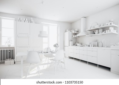 3d render of beautiful  scandinavian kitchen design