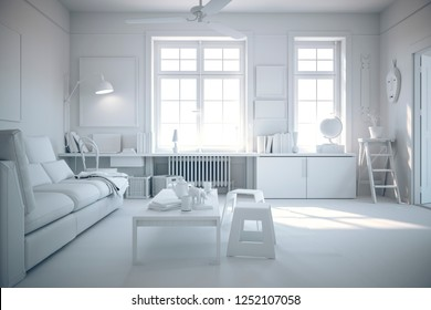 3d render of beautiful white interior with no textures