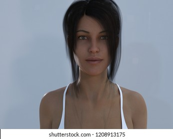 3D render beautiful woman computer generated photo realistic to to illustrate the uncanny valley effect