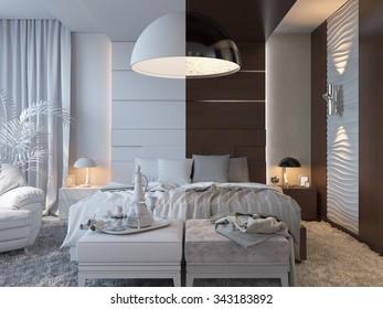 3d render of bedrooms in brown color