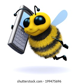3d render of a bee chatting on a mobile phone