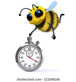 3d render of a bee with a stopwatch