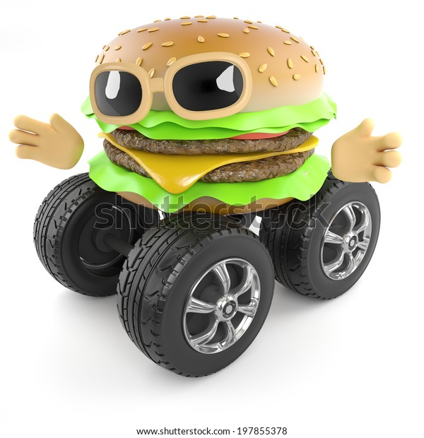 3d render of a beefburger with wheels