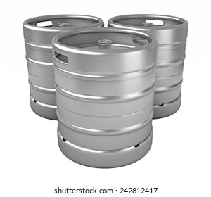 3d render of beer kegs isolated over white background