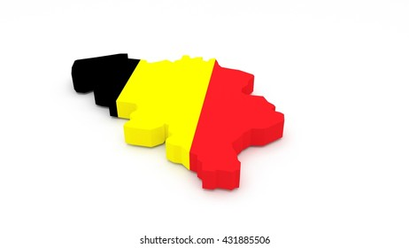 3D render of a Belgium map with a flag texture.