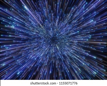 3d render, big bang, galaxy, abstract cosmic background, purple fireworks, celestial, beauty of universe, speed of light, neon glow, stars, cosmos, ultraviolet infrared light, outer space