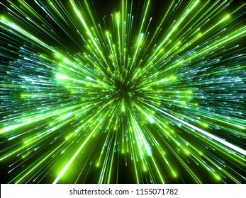 3d render, big bang, galaxy, abstract cosmic background, speed of light, green fireworks, neon glow, celestial, beauty of universe, stars, cosmos, matrix light, outer space