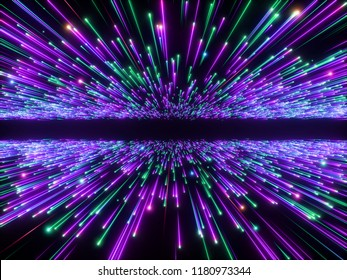 3d render, big bang, galaxy horizon, abstract cosmic background, celestial, beauty of universe, speed of light, fireworks, purple green neon glow, stars, cosmos, ultraviolet light, outer space