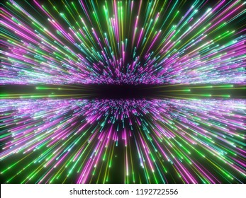 3d render, big bang, galaxy horizon, abstract cosmic background, celestial, beauty of universe, speed of light, fireworks, purple green neon glow, stars, cosmos, colorful light, outer space